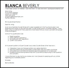 Driver Cover Letter Sle And Resume Template