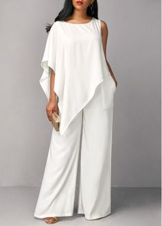 9fbf42602ef Jumpsuits Rompers Scoop Neck Ankle-length Mother of the Bride Dress With  Cascading Ruffles