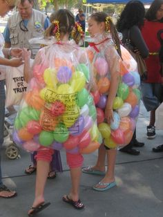 Bag of jelly beans costume.   Clear bag, blow up small balloons.  Very easy, very cute, unique.