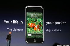 5-years old - Apple CEO Steve Jobs introducing the iPhone at 2007's Macworld.