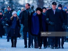 L-R Princess Ingrid Alexandra of Norway, Crown Prince Haakon of Norway,Queen Sonja of Norway and  King Harald of Norway walk from the royal palace to the university for the gala reception during the Celebration of the 25th anniversary of King Harald and Queen Sonja of Norway on January 17, 2016 in Oslo, Norway.  (Photo by Nigel Waldron/WireImage)