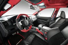Red accented steering wheel
