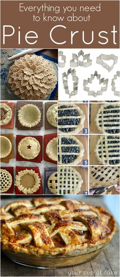Everything you need to know about Pie Crust. Fall is the time of year I get serious about my baking. A beautiful pie crust is just the icing on the cake! Just Desserts, Delicious Desserts, Yummy Food, Cupcakes, Cupcake Cakes, Pie Dessert, Dessert Recipes, Pie Crust Recipes, Pie Crusts