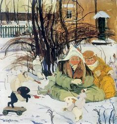 Witold Wojtkiewicz - Winter Tale, Tournament – tempera of canvas  (from the cycle Children's Poses, 1908)