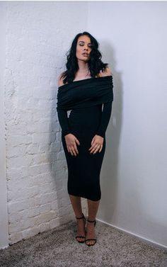 COURTNEY- Drop Shoulder Midi Dress - SilkFred