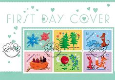 Valentine's Day post stamp illustrated & designed by Ilja Karsikas for the Finnish Post, 2015 Valentines Day Post, Friend Together, Stamp Collecting, Postage Stamps, Finland, Kids Rugs, Graphic Design, Cover, Illustration