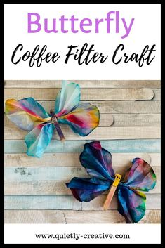 Butterfly Coffee Filter Craft For Kids – Quietly Creative Create a beautiful butterfly with two coffee filters, markers, and clothes pins. This craft is great for all ages and simple to put together. Perfect for a gift giving idea from the children. Crafts To Do, Easy Crafts, Crafts For Kids, Paper Crafts, Twine Crafts, Coffee Filter Crafts, Coffee Crafts, Coffee Filter Art, Projects For Kids