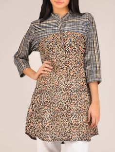 Indigo Kalamkari Cotton Tunic on Jaypore.com