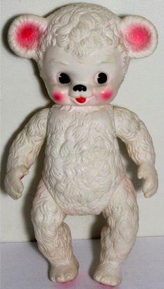 Vintage 1950s Rubber Teddy Bear