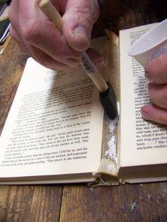 Super easy book repair misc pinterest book repair super easy applying archival ph neutral adhesive with a foam brush for book spine repair solutioingenieria Images