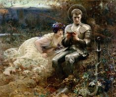 "Arthur Hacker (1858-1919) ""The Temptation of Sir Percival."" From Le Morte Darthur: The knight in the wilderness is tempted from his duty by ""a gentlewoman of great beauty"" and ""the strongest wine that he ever drank."""