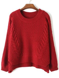 Red Long Sleeve Cable Knit Dipped Hem Sweater R$80.62