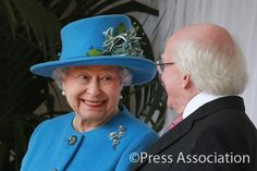 The Queen with President Higgins at the Official Welcome Ceremony at Windsor today