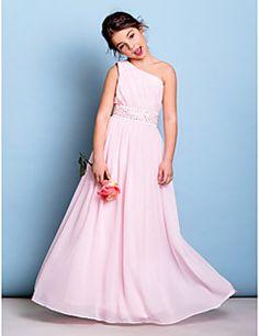 Junior Bridesmaid Dress Floor-length Chiffon A-line One Shou... – AUD $ 114.39