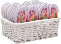 Our Clubbed Out and Barefoot Flip Flop Party Pack comes complete with a white wicker basket to display your flip flops in . The party essential Wedding Favours Bottles, Wedding Favors Cheap, Beach Wedding Favors, Personalized Wedding Favors, Wholesale Flip Flops, Wedding Slippers, Wedding Flip Flops, White Wicker, Luau Party