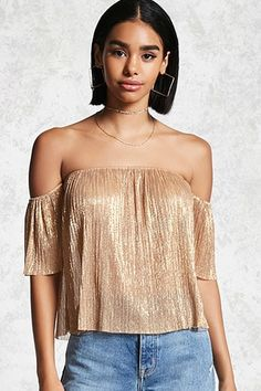 ¡Cómpralo ya!. Metallic Off-the-Shoulder Top. DetailsA metallic knit crop top featuring an accordion pleated construction, an elasticized off-the-shoulder neckline, and short elasticized sleeves.Content + Care- 48% metallic yarn, 52% polyester- Hand wash cold- Made in VietnamSize + Fit- Model is 5'8%22 and wearing a Small- Full length: 15%22- Chest: 28%22- Waist: 28%22- Sleeve length: 6.5%22 , tophombrosdescubiertos, sinhombros, offshoulders, offtheshoulder, coldshoulder…