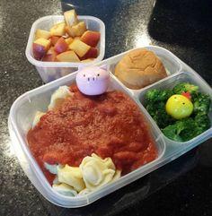 bento: Cheese Tortellini, Broccoli, Bread, Peaches