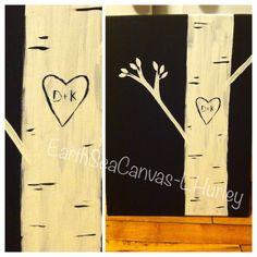 birch tree,love,heart,canvas Canvas Art By Lindsay Hurley www.earthseadesigns.webs.com/ www.facebook.com/earthseadesigns Heart Canvas, Canvas Canvas, Canvas Designs, Hurley, Love Heart, Birch, Clock, Facebook, Artist