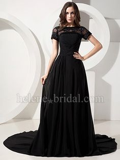 A-Line Bateau Long / Floor-Length Chiffon Elastic Silk-like Satin Evening Dress - US$ 209.99 - Style ED6307 - Helene Bridal