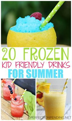 If you're looking for refreshing non-alcoholic summer drinks that are kid-friendly, and perfect to cool you off, then you have to try some of these easy delicious drink ideas. Whether you want a milks (Cool Easy Drinks) Kid Drinks, Frozen Drinks, Fruit Drinks, Drinks Alcohol, Summer Drinks Kids, Summer Beverages, Frozen Drink Recipes, Easy Smoothies, Smoothie Recipes