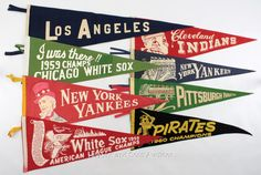 (8) Vintage Baseball Pennants- With Very Rare 1930s Yankee Stadium Pennant