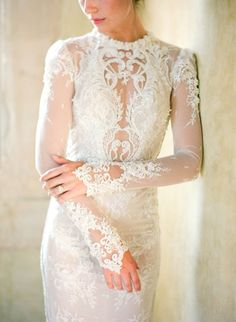 Romantic high neck lace wedding dress: http://www.stylemepretty.com/2016/02/29/dreamy-lilac-blush-wedding-inspiration/ | Photography: Jose Villa - http://josevillablog.com/: