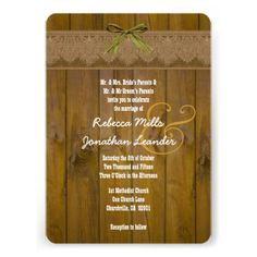 Rustic Style Wood Texture and  Damask Wedding V24 Invites  To see more Jaclinart rustic wedding, visit www.zazzle.com/... #rustic #wedding #fall #autumn #barn #lace #burlap