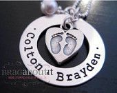 Hand Stamped Mommy Necklace - Personalized Jewelry - Footprints Around My Heart