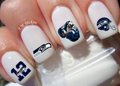 Seattle Seahawks Nail Decals by AMstickers on Etsy