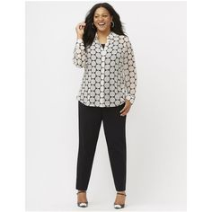 Lane Bryant Plus Size The Muse dot print shirt  Size 26/28, white ($50) ❤ liked on Polyvore featuring tops, white, women plus size tops, womens plus size shirts, womens plus tops, button-down shirts and plus size button up shirts