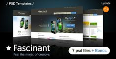 Fascinant is design creative PSD template which is ideal as it is for business / software app or blog site. Very flexible grid based layouts with great usability in mind. Design is created using the 960 Grid System. Free font used. Pixel perfect. Clean and Sharp PSD template. This is an easy to customize psd template. #psd #template #creative #files #download