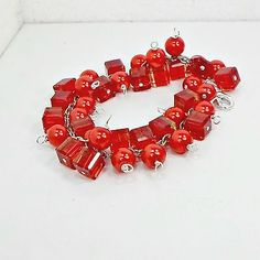 Bracelet-cluster-chain-red-cube-beads-faux-pearls-size-6-1-2-up-Handmade-by-Pat2