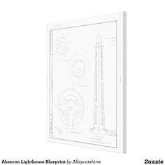 Absecon Lighthouse Blueprint Canvas Print