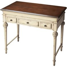 Add a touch of cottage charm to your master suite or guest room with this lovely writing desk, featuring a weathered finish.Produc...