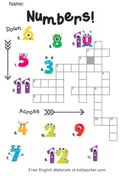 English Crosswords for Kids ESL Numbers