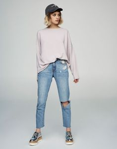 Piped seam sweatshirt - Sweatshirts & Hoodies - Clothing - Woman - PULL&BEAR Qatar