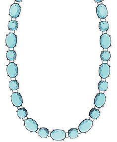 Anne Klein Silver-Tone Blue Stone Collar Necklace