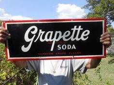 Vintage Sign Grapette Soda Porcelain Original #GrapetteSpda