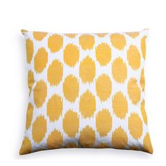 """Yellow Spotted Silk Pillow, silk/cotton blend, down insert included, 18""""x18"""", $65"""
