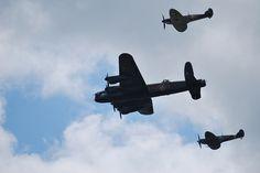 Battle of Britain Memorial Flight - Lancaster and 2 Spitfires - by Capt_Bowman, via Flickr