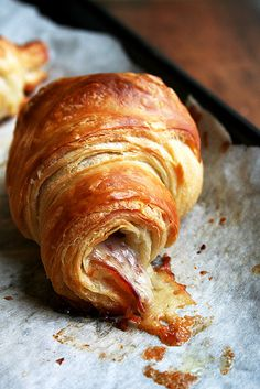 ham and cheese croissant by alexandracooks, via Flickr - I'd love to make pain au chocolat too!