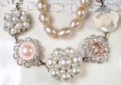 OOAK Blush Pink Bridal Bracelet Ivory Pearl by AmoreTreasure