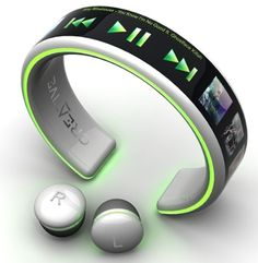 MP3 Player Concept - bracelet and wireless ear buds very cool! So, do these exist for the general population?