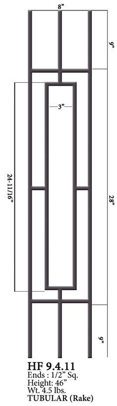 HF9.4.11 One Rectangle Rake Tubular Steel Panel