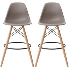 """Set of 2, EIFFEL Natural Wood Bar Stool - 28"""" Seat Height - 2xhome"""
