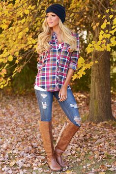 Flirting With Flannel Top - Navy/Hot Pink from Closet Candy Boutique #fashion #shop