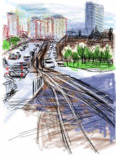 Craig Longmuir, 'Arts Tower', iPad drawing