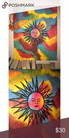 Original hand painted canvas One of my favorite paintings I did. This will add the perfect vibes to anyone's boho hippie peaceful room. I would love to make money off of what I love doing. Feel free to make an offer Other