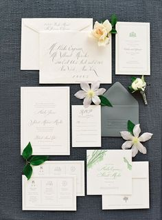 Classic + elegant white and gray wedding invitations: http://www.stylemepretty.com/2015/11/12/summer-willow-tree-wedding-at-black-swan-lake/ | Photography: Jose Villa - http://josevilla.com/