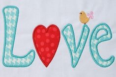 INSTANT DOWNLOAD Valentine LOVE  Applique by DBembroideryDesigns, $3.99